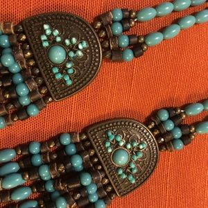Bohemian Turquoise Beaded Drop Necklace